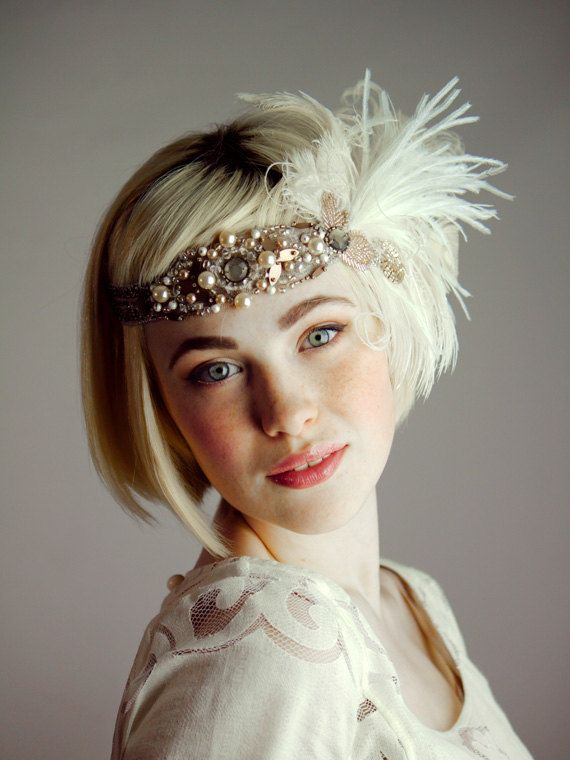 Persephone+Flapper+Peacock+Feather+Headband+by+BaroqueAndRoll,+$128.00