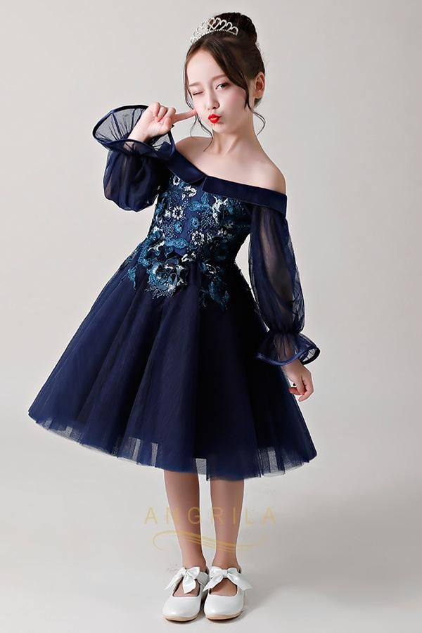 09897f8b82f Chic Dark Navy Strapless Flower Girl Dresses