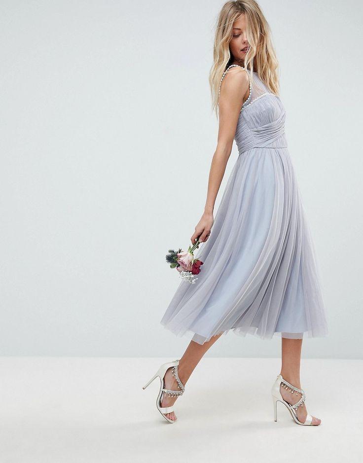 asos wedding midi prom dress with pearl trim blue