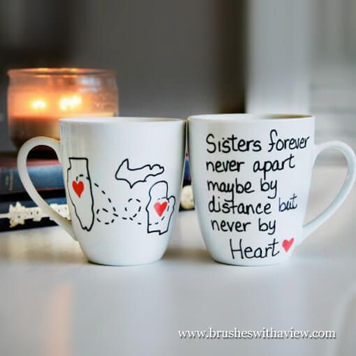 Sisters Birthday Gift, this hand painted Sisters Forever Coffee Mug can be a personalized Gift for your sister.