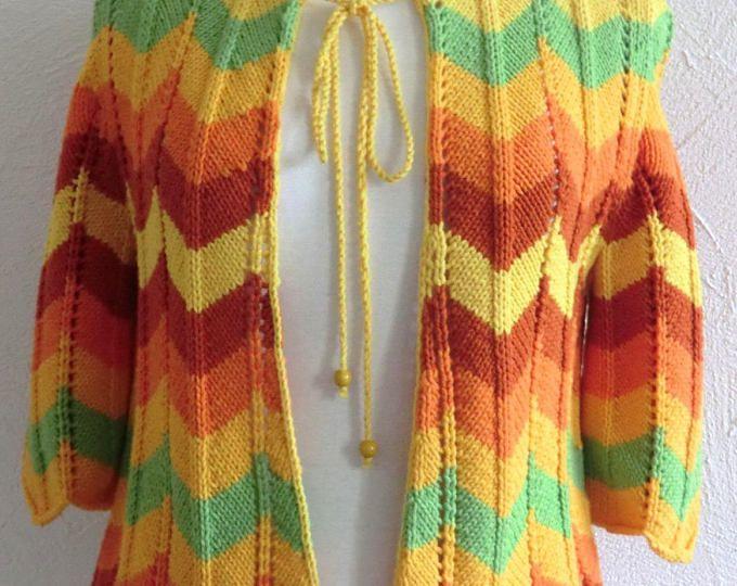 Cardigan  Gilet - Tricot d'été - Femme - Taille 36 - 38 - Motif zigzag et point ajouré - Manches trois-quarts  - Tricoté à la main
