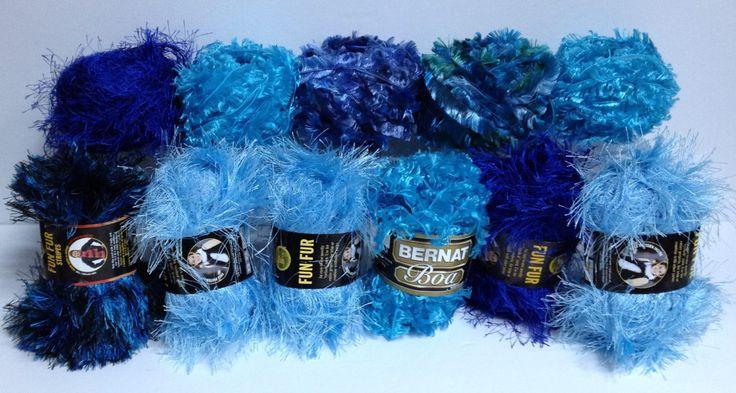 Lion Brand Fun Fur Stripes Bernat Boa Sapphire Blue Turquey Turquoise Deep Sea Light Blue Fancy Yarn Destash Novelty Yarn Textures Art Fibre by HeyJudeCollection on Etsy