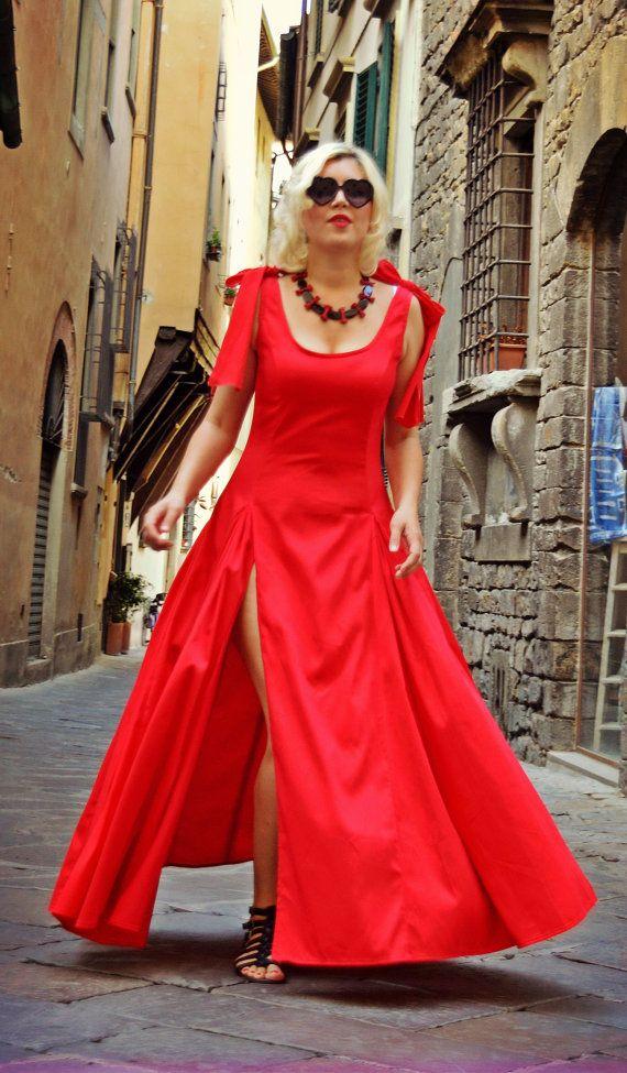Extravagant Red Dress / Cotton Red Dress / Fabulous Flared Dress / Red Flared Cotton Dress / Backless Red Dress TDK196