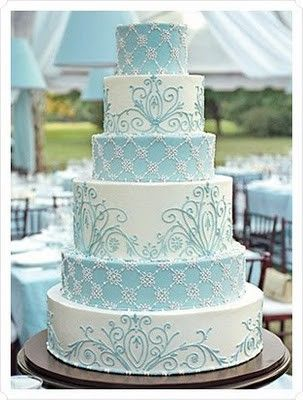 Ice Blue and White Wedding Cake. Just needs some snowflakes... I love this one ~ RePinned by Federal Financial Group LLC #FederalFinancialGroupLLC #FFG ffg2.com