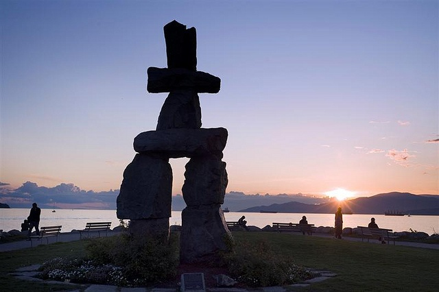 Inukshuck in English Bay, Vancouver. The Inukshuck was the iconic image for the Vancouver 2010 Winter Olympics. via Flickr
