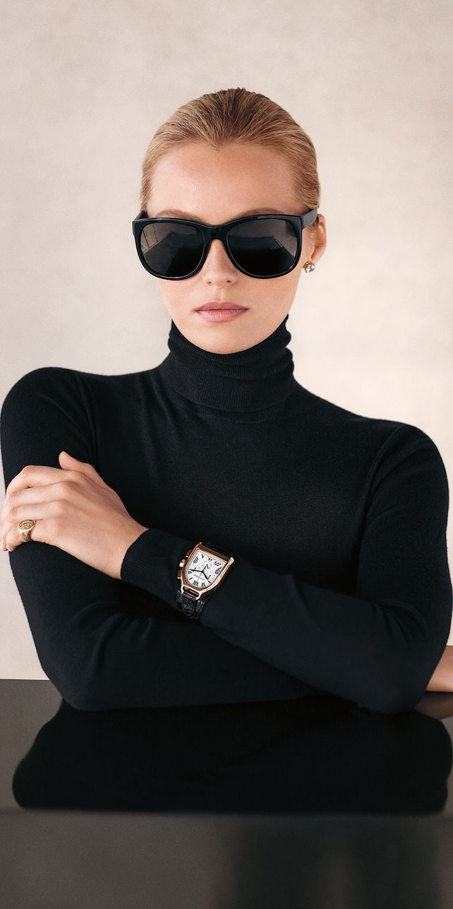The Black Turtleneck: I'd ditch the watch and glasses
