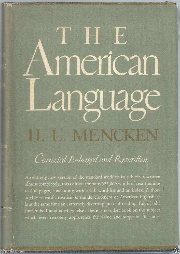 The American Language Book by H.L. Mencken 1937 Knopf 4th Edition Hardcover