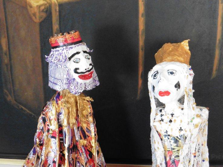 "Purim 2015 - King & Queen of the Black Cards  - papier mache & playing cards תחפושות פורים תשע""ה -  מלך ומלכה קלפים - עיסת נייר וקלפים"