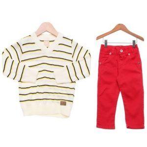 Conjunto Menino Calça Jeans Vermelha e Blusa em Tricot Elian Colorittá