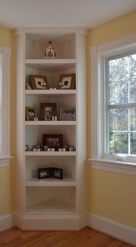 Corner shelf; I could do this in either corner with a seat in between flanking the fireplace.