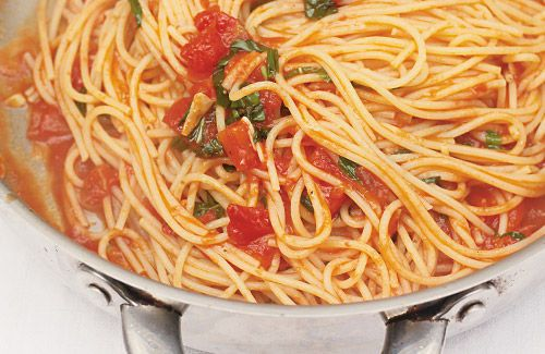Classic Tomato Spaghetti Recipe Main Dishes with garlic, red chili peppers, fresh basil, spaghetti, olive oil, chopped tomatoes, parmesan cheese