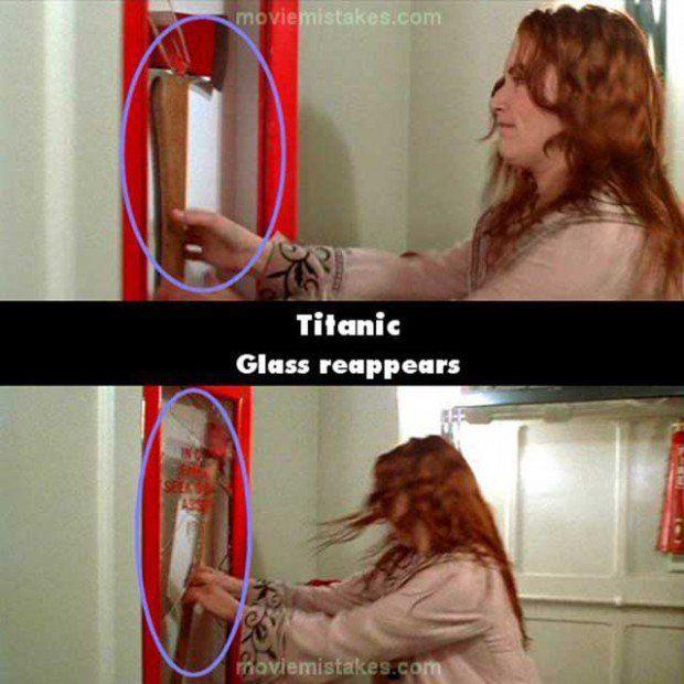 Escenas de Rosa en la película del titanic donde un vidrio reaparece de una escena a otra