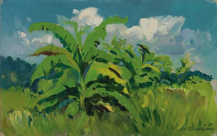 McFadyen, Ken 'Landscape, task force area 1967', oil on canvas on hardboard, 30.5 x 48.3 cm.  #kenmcfayden #vietnamoncanvas #sandrafingerlee #vietnamwar #warart #oilpainting #tropical #palms #art #vietnam