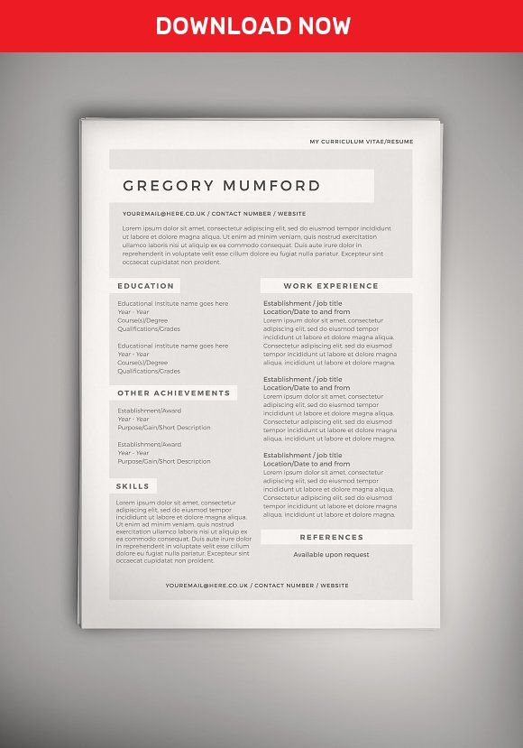 Echo Cv Resume Doc Psd Best Resume Template Simple Resume Template One Page Resume Template