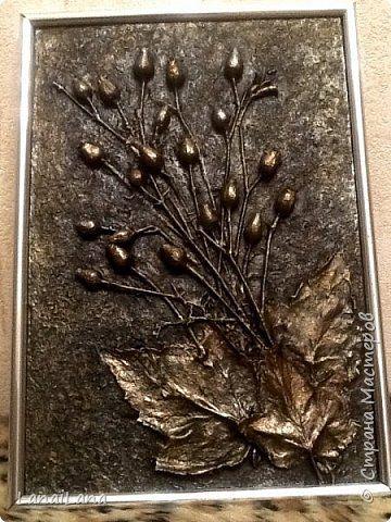 Картина панно рисунок Ассамбляж Моя Терра Гуашь Листья Материал природный Фанера фото 1