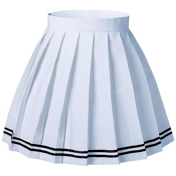 Amazon.com: Women's Japan School Plus Size Plain Pleated Summer Skirts... ❤ liked on Polyvore featuring skirts, mini skirts, white mini skirt, golf skirts, womens plus size skirts, white skirt and plus size skorts