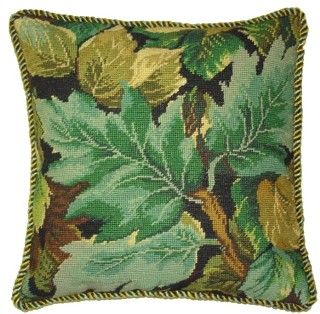 Leaves of Spring Needlepoint Throw Pillow with Tassels