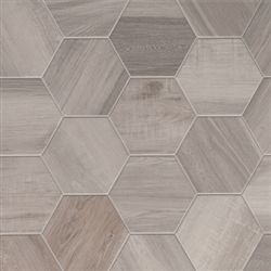 Porcelain Hexagon | 8 inch | Wood Look Tile | White very cool look and 5.99 per tile (~2 per sf)