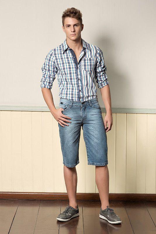 M2A Jeans | Fall Winter 2014 | Teen Collection | Outono Inverno 2014 | Coleção Juvenil | peças | bermuda jeans masculina; camisa xadrez masculina; jeans; denim.