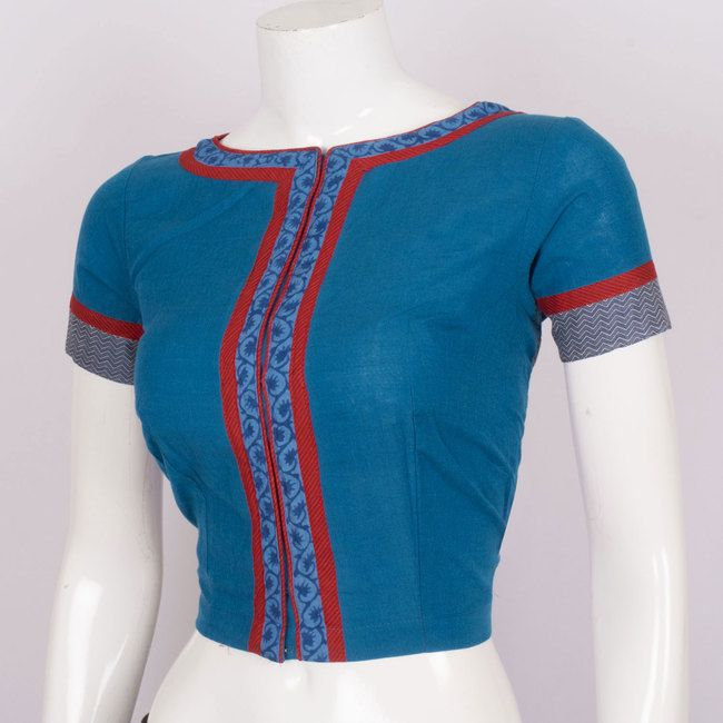 Hand Cotton Blouse With Boat Neck & Block Prints 10017724 Size - 38 - AVISHYA.COM
