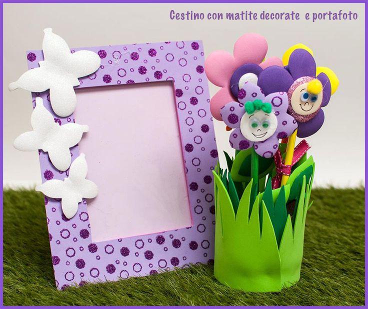 Cestino con matite decorate e Portafoto #eva #foam #crepla #fommy