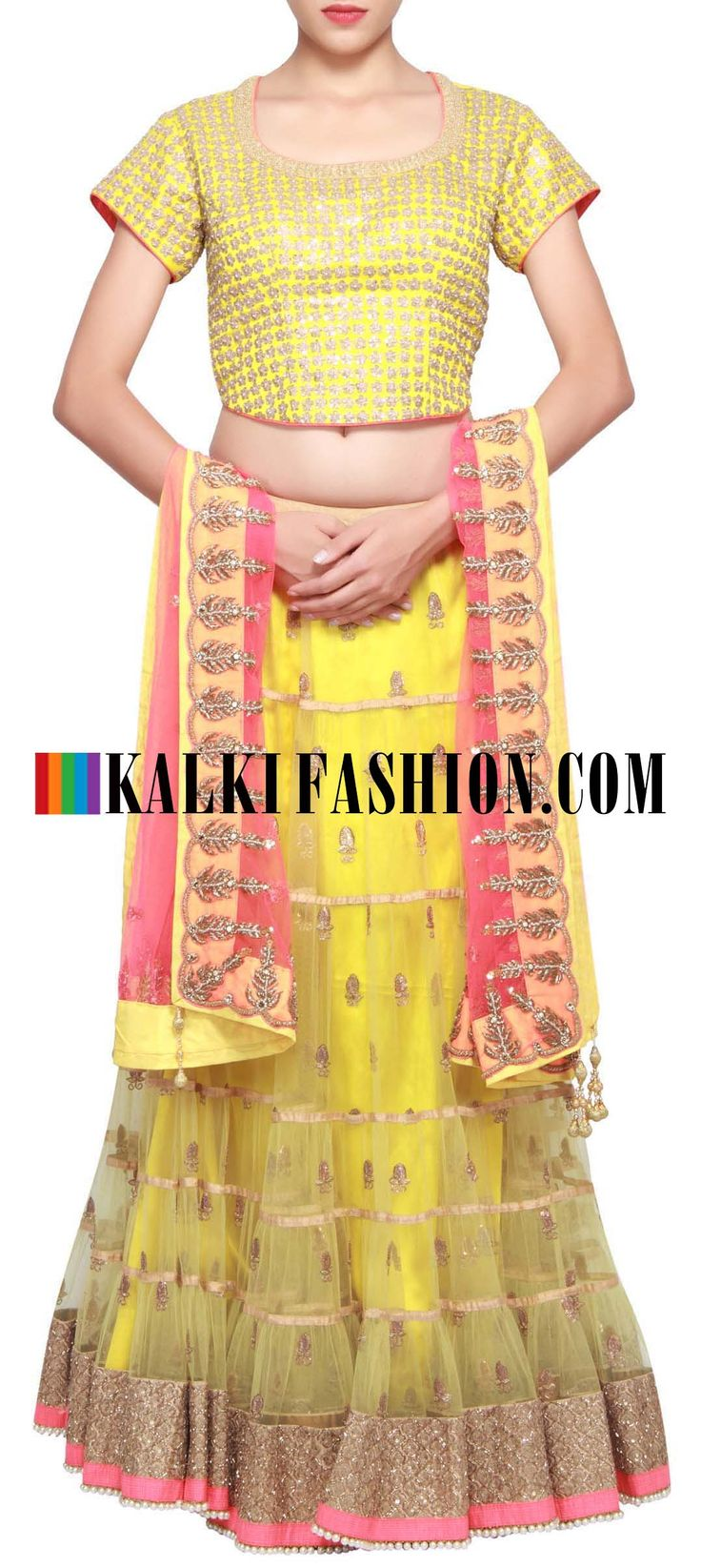 Get this beautiful lehenga here: http://www.kalkifashion.com/green-net-lehenga-embellished-in-sequence-and-zari-embroidery-only-on-kalki.html Free shipping worldwide.