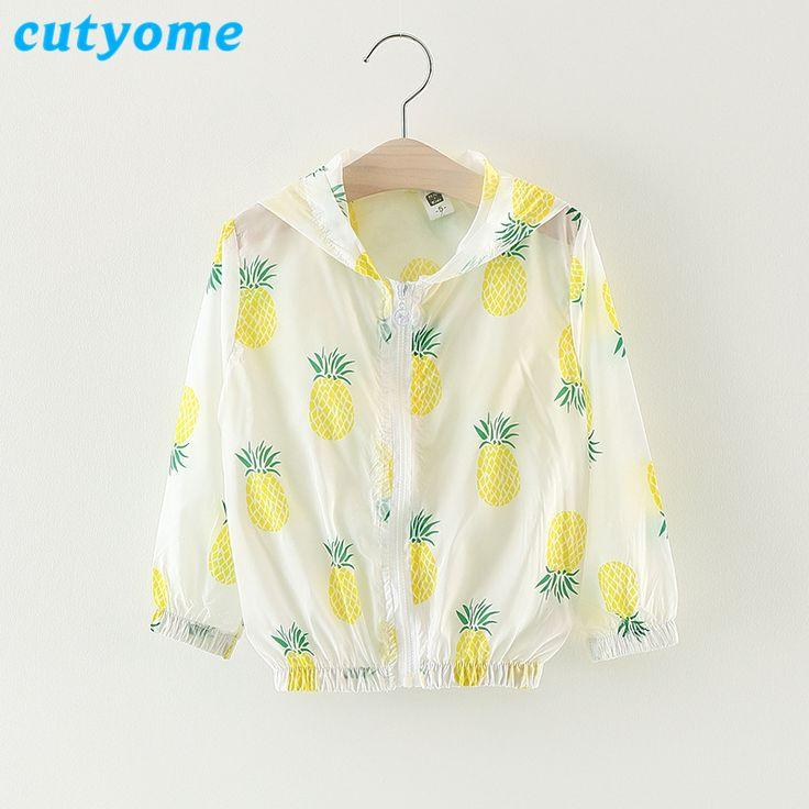 Cutyome Baby Girls Summer Jacket Coats Toddler Kids Pineapple Fashion Sunscreen Bomber Jackets * 2017 Cheap Little Child Clothes
