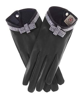 """You are sure to be noticed wearing these high-fashion leather gloves that feature a """"bracelet"""" of stunning, brilliant Swarovski crystals. Like all of our gloves from Fratelli Orsini, these gloves are made of the finest materials, including Italian Lambskin, 100% Italian silk, and genuine Swarovski Crystal."""