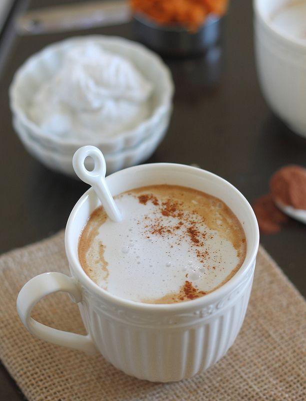 Pumpkin hot chocolate with vanilla coconut whipped cream.