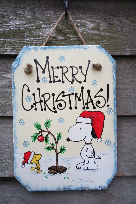Snoopy and Woodstock, Charlie Brown Christmas tree, Santa hats hand painted Merry Christmas Wall-hanging Slate