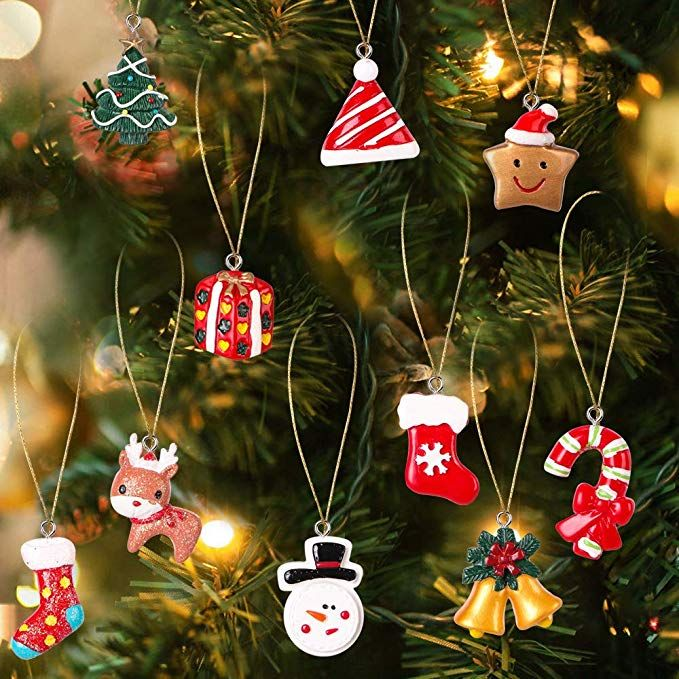 Amazon Com Ayogu 24 Pieces Mini Christmas Ornaments Resin Petite Treasures M Classic Christmas Decorations Mini Christmas Ornaments Christmas Tree Decorations