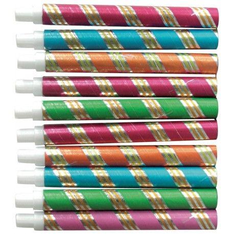 10 sarbacanes couleur métallisées (Cotillons de Fête)