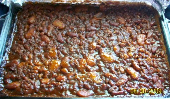These are the BEST! Ive been making this recipe for over 20 years now, and its always a HIT with my family and friends! Great for BBQs, potlucks, camping etc. Can be made in the oven or in the crockpot, and it freezes and reheats well.