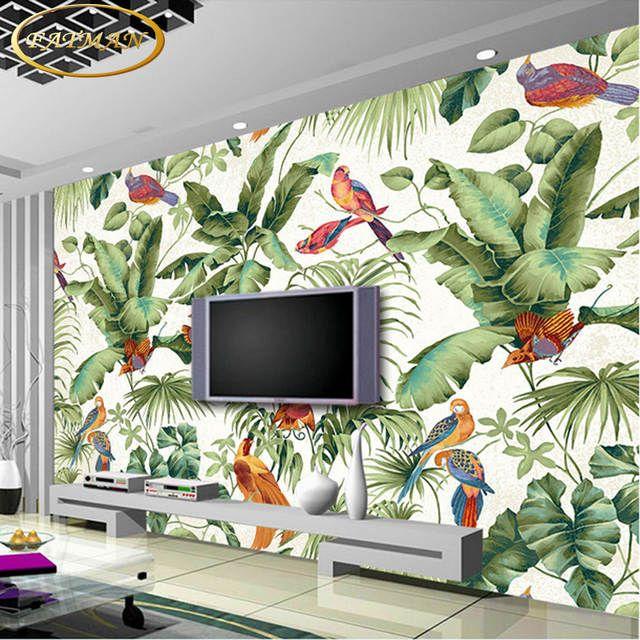 Benutzerdefinierte 3d Fototapete Tropical Garten Blume Vogel Personlichkeit Tapete Wohnzimmer Sc Tapete Wohnzimmer Schlafzimmer Tapete Dekorative Wandmalereien