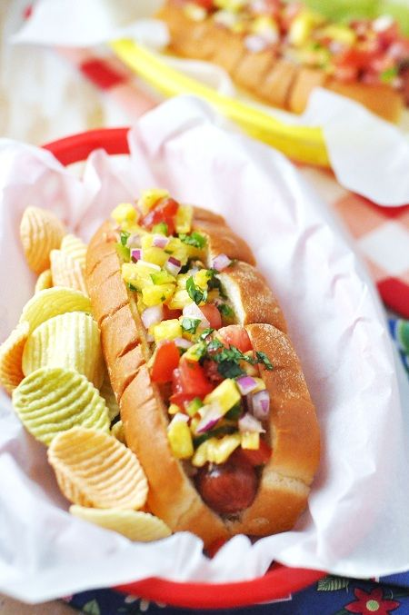 Grilled Hot Dogs with Hawaiian Pineapple Salsa http://www.savoringthethyme.com/2012/06/grilled-hot-dogs-with-hawaiian-pineapple-salsa-plus-a-200-giveaway/