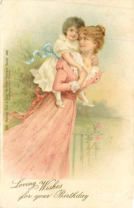 LOVING WISHES FOR YOUR BIRTHDAY Woman In Pink Carries Child Piggy Back