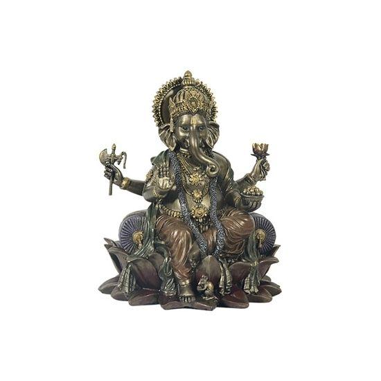Genesha boeddha beeld met olifantenhoofd 20 cm  Bronskleurig polystone beeld van de Hindoe?stische boeddha Ganesha. Ganesha is de God van kennis en wijsheid. Het beeld is ca. 20 x 16 cm groot.  EUR 54.95  Meer informatie