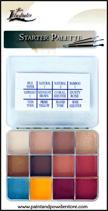 Skin Illustrator Starter Palette - alcohol-activated makeup inks that are designed to be water- & friction- proof once they are applied.  The best for applying truly realistic and believable colors that look so natural on skin to the eye, whether for film or TV work.  This palette is a great mini collection of the 12 most common used colors.  Its smaller size makes it very handy to have around in a set bag or pocket.  It's great introduction to ink palettes for beginners to experiment with.