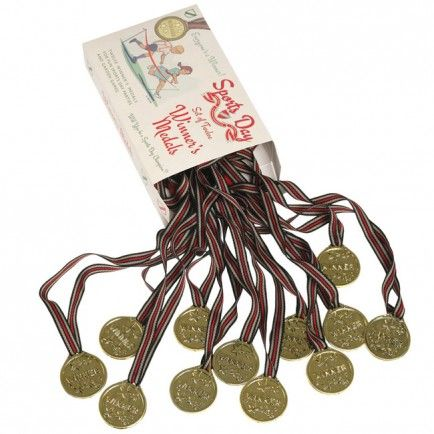 A medal for the winner! Reward sporting prowess with Sports Day winners' medals: they come as a set of 12 in a lovely gift box. Host your own summer Sports Day and hang these medals around the winners' necks with the attached ribbons. Perfect for handing out to winners at your next kids party!