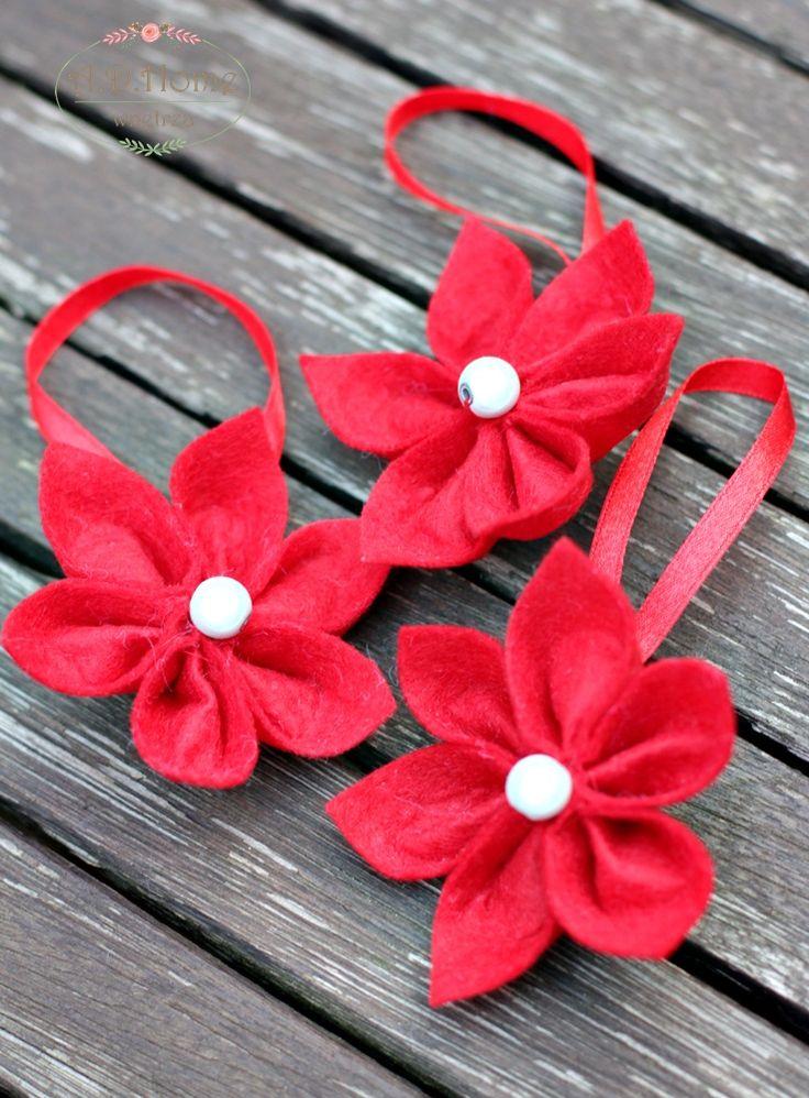 filcowe kwiaty, dekoracje, ozdoby świąteczne hand made, święta, Boże Narodzenie