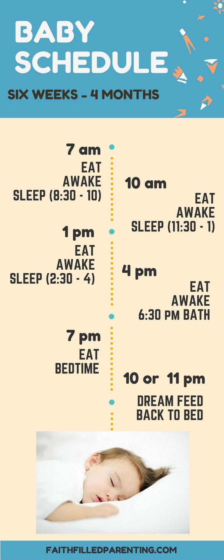 Baby Sleep Schedule 6 weeks - 4 months