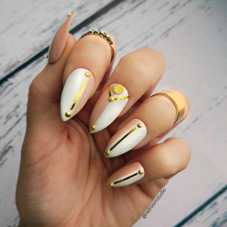 NEW nail set available in every shape.  White and nude press on nails with gold accents.  Very classy and glamour! 🌟    Standard stiletto pictured    __  Custom press on nails  Online shop - link in bio