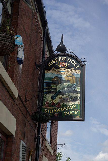 Strawberry Duck (sign), Clayton, Manchester by Adam Bruderer, via Flickr