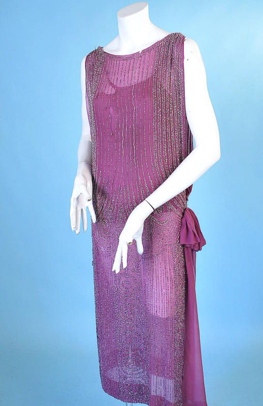 1920 ART DECO BEADED MAGENTA SILK TABARD FLAPPER DRESS. Front sideway