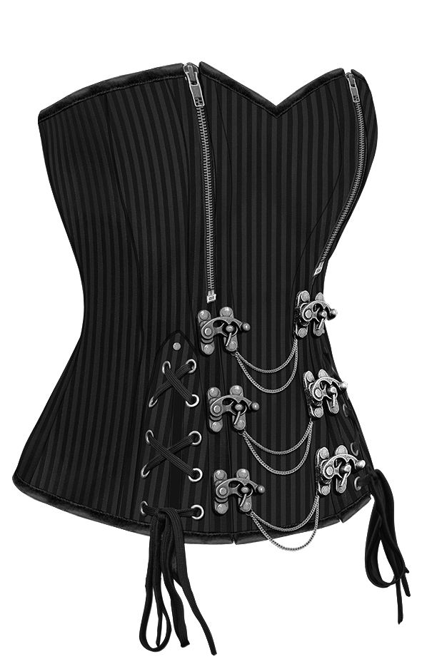 New super sexy corset, Night Princess! I love the variety, the zippers, clasps, AND laces? HAWT! The Violet Vixen - The Night Princess Black Corset , $99.00 (http://thevioletvixen.com/corsets/the-night-princess-black-corset/) steel boned goth steampunk black corset authentic zipper chain lacing silver clasps