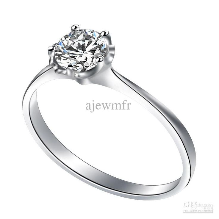 wedding ring 18K Solid white Gold single excellent Diamond engagement Ring  CAR03013A
