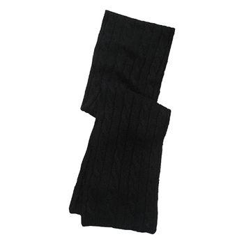 Ralph Lauren Women's Black Cable Knit Scarf