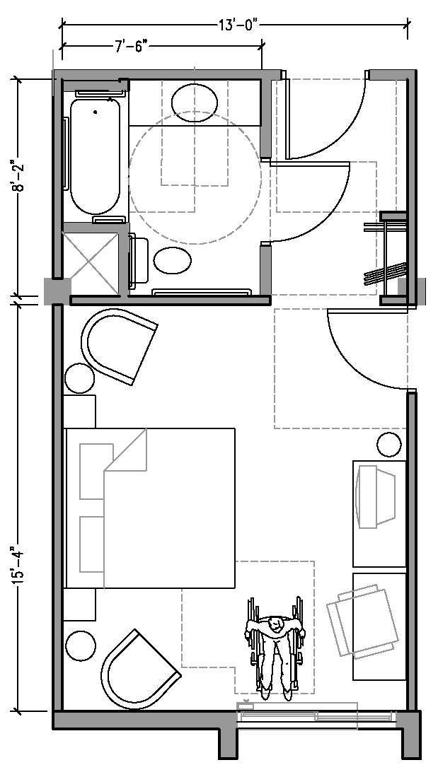 Hotel room floor plan dimensions plan1aaccessiblejpg for Hotel design standards