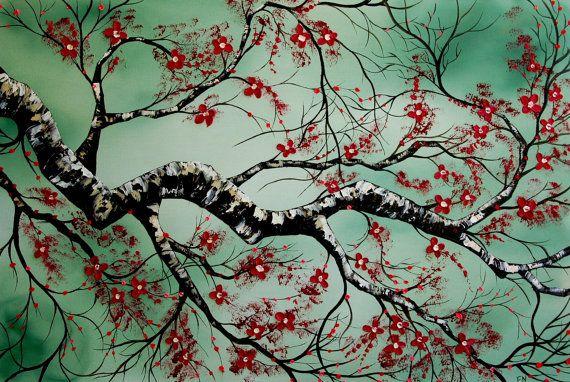 fleurs de cerisier fleurs japonais 24 x 36 arbre branche abstrait rouge et vert peinture huile. Black Bedroom Furniture Sets. Home Design Ideas