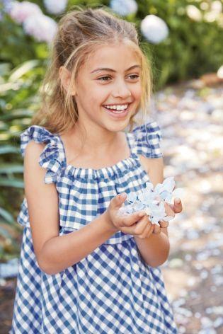 כחול/לבן שמלה עם מלמלה (גילאי 3 עד 16)